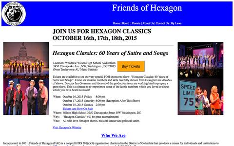 Screenshot of Home Page friendsofhexagon.org - Friends of Hexagon - captured Oct. 14, 2015