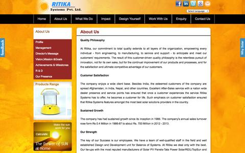 Screenshot of About Page ritikasystems.in - Ritika Systems  - Solar Company In India | Solar Products - captured Oct. 7, 2014