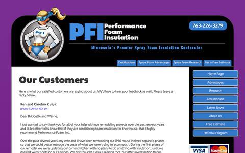 Screenshot of Testimonials Page minnesotafoaminsulation.com - Our Customers | Performance Foam Insulation - captured July 22, 2017