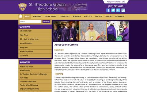 Screenshot of About Page guerincatholic.org - About - Guerin Catholic High School - captured Nov. 5, 2014