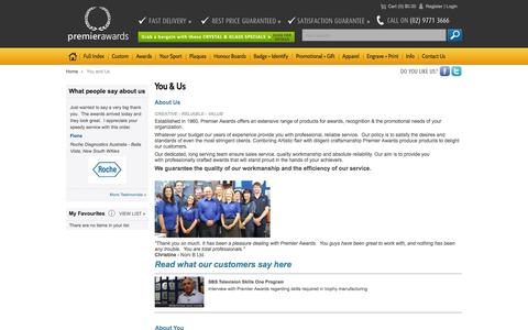 Screenshot of About Page Privacy Page premierawards.com.au - You and Us - captured Sept. 30, 2014