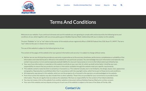 Screenshot of Terms Page bubblesexpresswash.com - Bubbles Express Wash   –  Terms And Conditions - captured Oct. 5, 2014