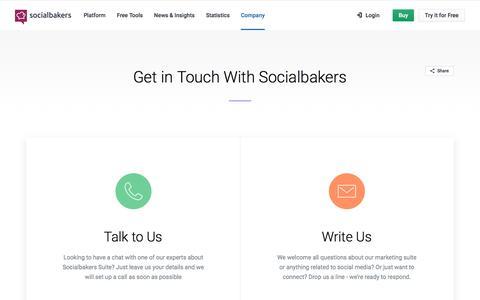 Screenshot of Contact Page socialbakers.com - Socialbakers Company -  Get in Touch | Socialbakers - captured Aug. 9, 2018