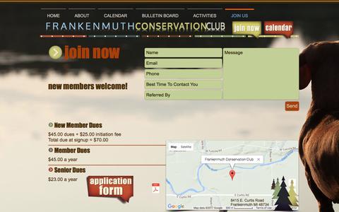 Screenshot of Signup Page frankenmuthconservation.com - fmuthconservation | JOIN US - captured April 26, 2017