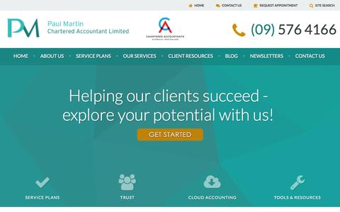 Screenshot of Menu Page pmartinca.com - Paul Martin Chartered Accountant Ltd :: Accounting, Taxation and Business Advisory :: Auckland, New Zealand - captured Jan. 26, 2016