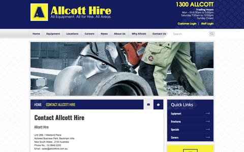 Screenshot of Contact Page allcotthire.com.au - Contact - Allcott Hire - Equipment Rental - Earthmoving Equipment Hire - captured July 29, 2018