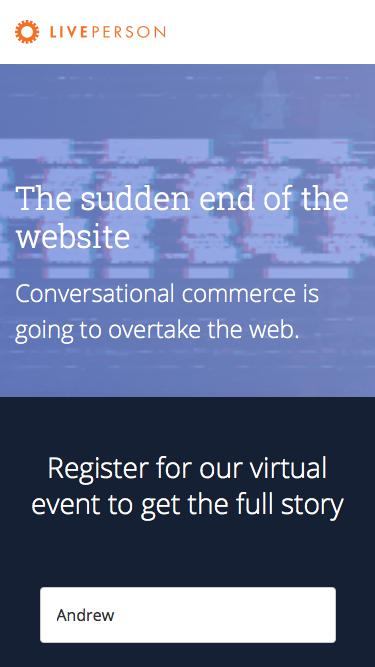 The sudden end of the website | LivePerson