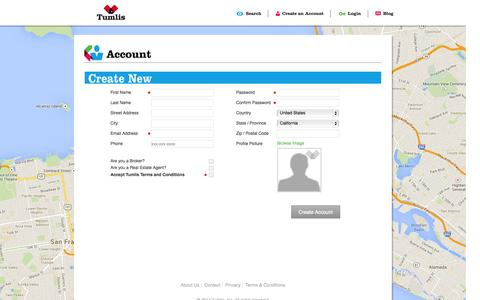 Screenshot of Signup Page tumlis.com - Tumlis - Data Driven Real Estate - captured Oct. 7, 2014