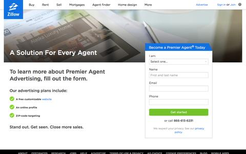 Screenshot of Contact Page zillow.com - Real Estate Agent Websites for $10 per month - Zillow - captured April 23, 2017