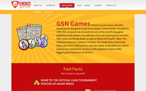 Screenshot of Press Page gsngames.com - Press Room - GSN Games - captured July 9, 2019