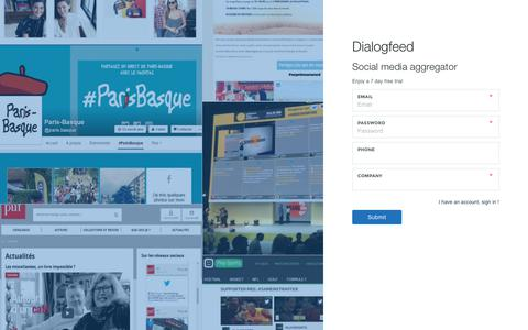 Screenshot of Trial Page dialogfeed.com - Social media aggregator | Social media aggregator - captured July 13, 2018
