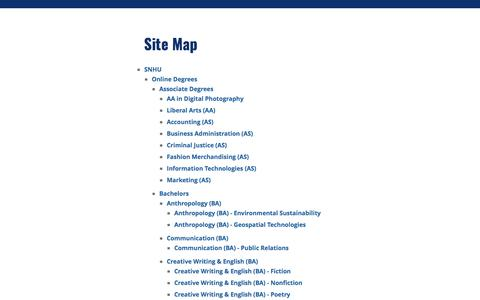 Screenshot of Site Map Page snhu.edu - Site Map - Southern New Hampshire University | SNHU - captured Jan. 1, 2020
