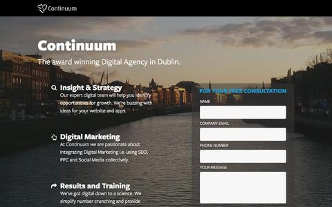 Screenshot of Landing Page continuum.ie - Digital marketing agency dublin - captured Dec. 9, 2015