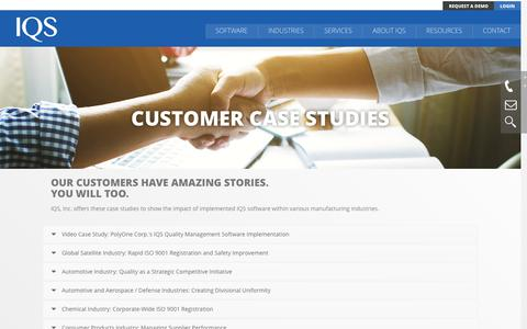 Screenshot of Case Studies Page iqs.com - Case Studies | IQS, Inc - captured Nov. 19, 2016