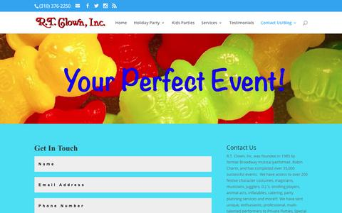 Screenshot of Contact Page rtclown.com - Contact Us/Blog - Holiday Party Planner Los Angeles, Real Bearded Santas, Holiday Characters - captured Nov. 14, 2017