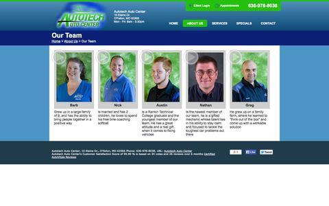 Screenshot of Team Page autotech.pro - Autotech Auto Center | Tires O'Fallon MO | Auto Repair 63366 | AC Repair O'Fallon MO | Oil Change 63366 | Brake Repair O'Fallon MO - captured Nov. 3, 2014