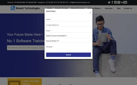 Screenshot of Home Page besanttech.com - Besant Technologies | No.1 Software Training in Chennai, Bangalore - captured Oct. 23, 2018