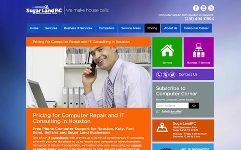 Screenshot of Pricing Page sugarlandpc.com - Pricing at SugarLandPC - captured Oct. 8, 2014
