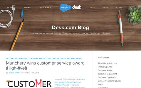 Screenshot of Press Page desk.com - Munchery wins customer service award (High-five!) - Desk.com Blog Desk.com - captured Dec. 29, 2015