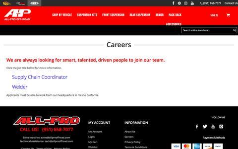 Screenshot of Jobs Page allprooffroad.com - Careers - captured Sept. 6, 2019
