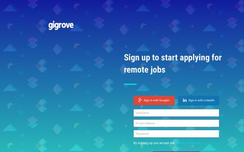 Screenshot of Signup Page gigrove.com - Sign Up - GigRove - captured Oct. 11, 2017