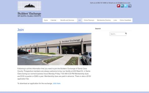 Screenshot of Signup Page bxscco.com - Join - Builder's Exchange, of Santa Clara County - captured Oct. 5, 2014