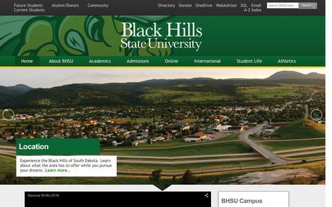Screenshot of About Page bhsu.edu - Black Hills State University > About BHSU - captured Feb. 7, 2016