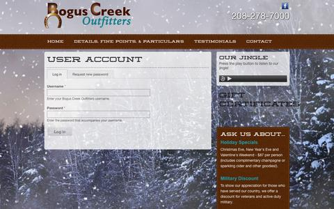 Screenshot of Login Page boguscreek.com - User account | Bogus Creek Outfitters - captured Oct. 5, 2014