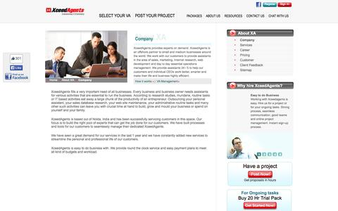 Screenshot of About Page xceedagents.com - About XceedAgents- An Outsourcing Company - captured Oct. 27, 2014