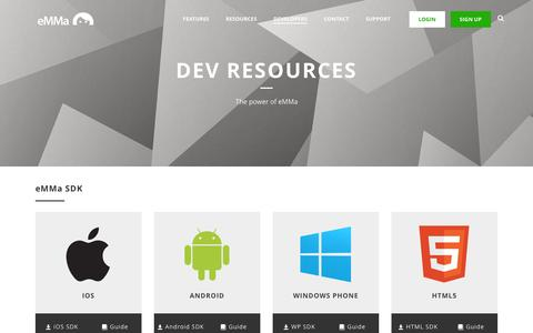 Screenshot of Developers Page emma.io - Developers | eMMa - captured Dec. 14, 2015