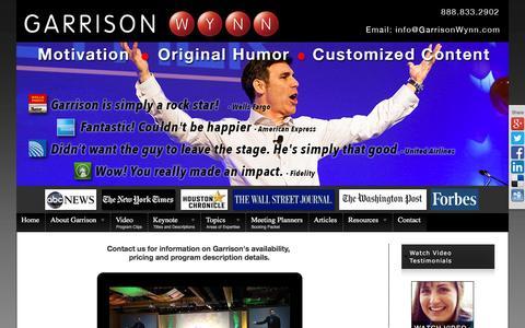 Screenshot of Contact Page motivational-speaker-success.com - Contact Keynote Speaker Garrison Wynn - captured March 4, 2016