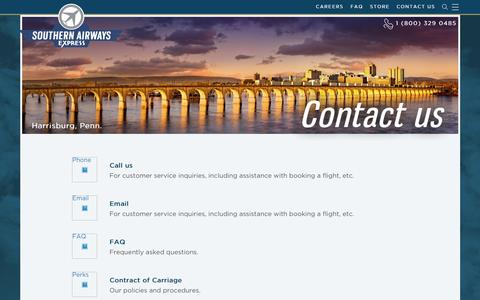 Screenshot of Contact Page iflysouthern.com captured Jan. 27, 2017