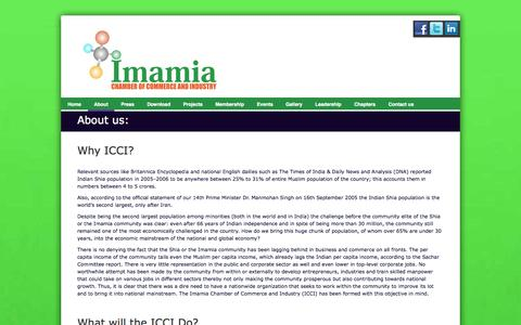 Screenshot of About Page icci.co.in - About us - Imamia Chamber of Commerce and Industry - captured Oct. 27, 2014