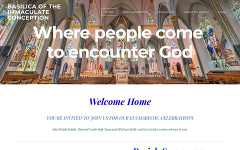 Screenshot of Home Page icjax.org - BASILICA OF THE IMMACULATE CONCEPTION - Welcome to the Basilica - captured April 26, 2018