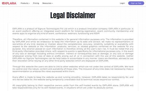 Screenshot of Terms Page explara.com - Explara.com   Legal Disclaimer - captured Jan. 19, 2020
