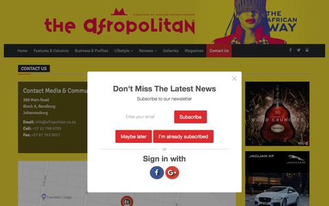 Screenshot of Contact Page afropolitan.co.za - Afropolitan | Contact Us - captured Feb. 21, 2018