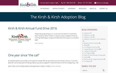 Screenshot of Blog indianaadoption.com - Blog - Kirsh & Kirsh | Indiana's Top Adoption Attorneys - captured Nov. 27, 2016