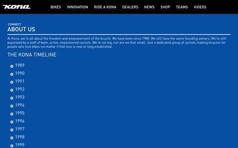 Screenshot of About Page konaworld.com - KONA BIKES | CONNECT  |  ABOUT US - captured July 19, 2019