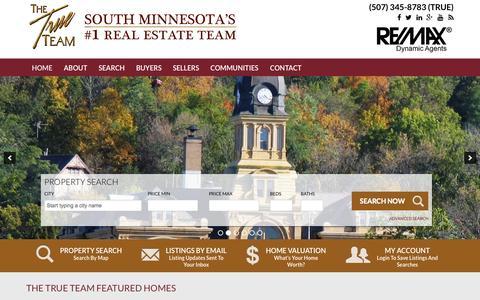 Screenshot of Home Page findhomesinmankato.com - Mankato Real Estate | Mankato MN Homes for Sale | True Team - captured Sept. 5, 2015