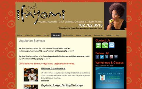 Screenshot of Services Page ifayomi.com - Vegetarian Services - Ifayomi - captured Oct. 6, 2014