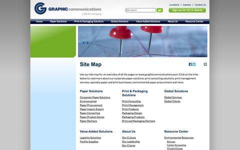 Screenshot of Site Map Page graphiccommunications.com - Graphic Communications Paper & Print Solutions Website: Use Our Site Map to Navigate - captured Sept. 30, 2014