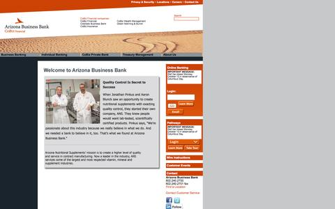Screenshot of Home Page About Page Contact Page Jobs Page Locations Page azbizbank.com - Arizona Business Bank - captured Oct. 4, 2014