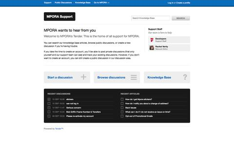 Screenshot of Support Page mpora.com - Welcome - MPORA Support - captured Sept. 16, 2014