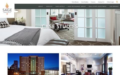 Screenshot of Case Studies Page sagehospitality.com - Sage Hospitality Case Studies - Evidence of our Success - captured May 27, 2017
