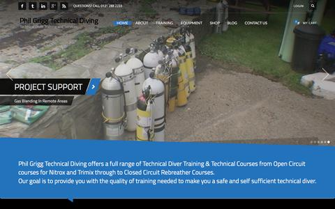 Screenshot of Home Page philgriggtechnicaldiving.co.uk - Technical Diver Training - Phil Grigg Technical Diving - captured July 13, 2016