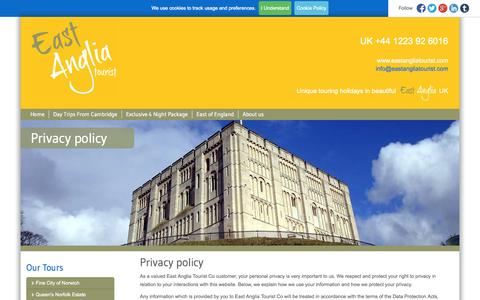 Screenshot of Privacy Page eastangliatourist.com - Privacy policy | East Anglia Tourist - captured Oct. 22, 2014