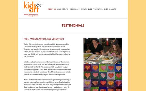 Screenshot of Testimonials Page kidsandart.org - Testimonials — Kids and Art Foundation - captured Oct. 17, 2017