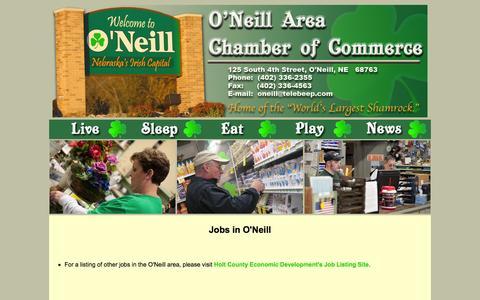 Screenshot of Jobs Page oneillchamber.org - O'Neill Chamber of Commerce - O'Neill, Nebraska - captured March 10, 2016