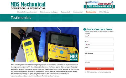 Screenshot of Testimonials Page mbsmech.com - Testimonials - MBS Mechanical Inc - captured Sept. 20, 2017