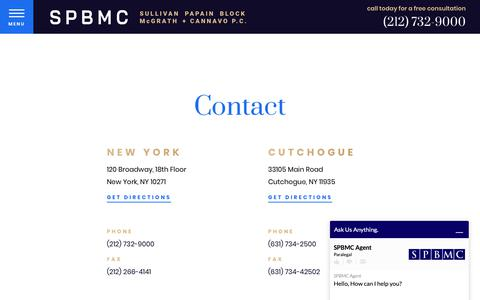 Screenshot of Contact Page triallaw1.com - Contact Us | Sullivan Papain Block McGrath & Cannavo, P.C. - captured May 29, 2019